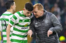 Celtic Manager Neil Lennon (right) and Ryan Christie