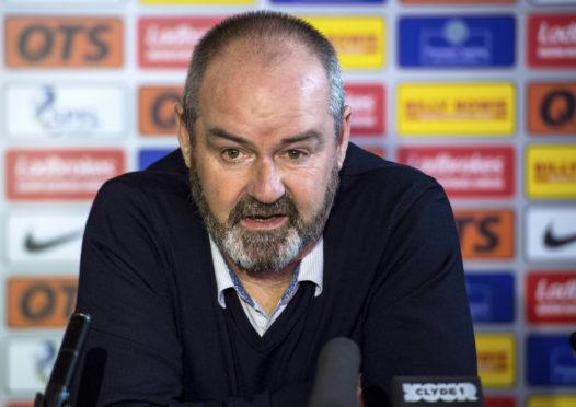 Kilmarnock manager Steve Clarke speaks to the press