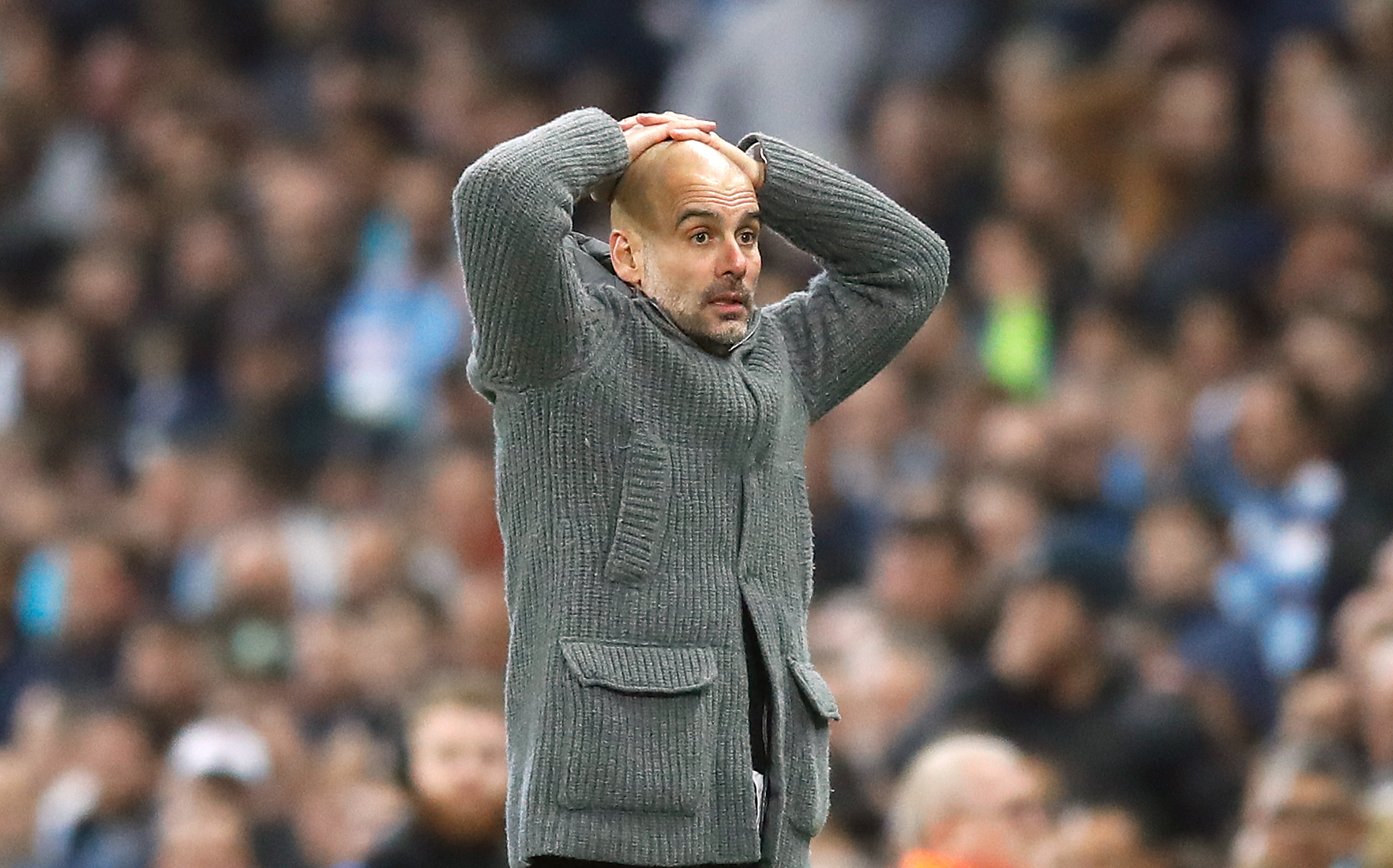 Pep Guardiola can't believe it as the goal is ruled out
