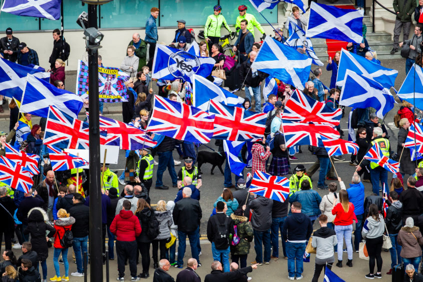 A small demonstration backing the Union met the march at George Square