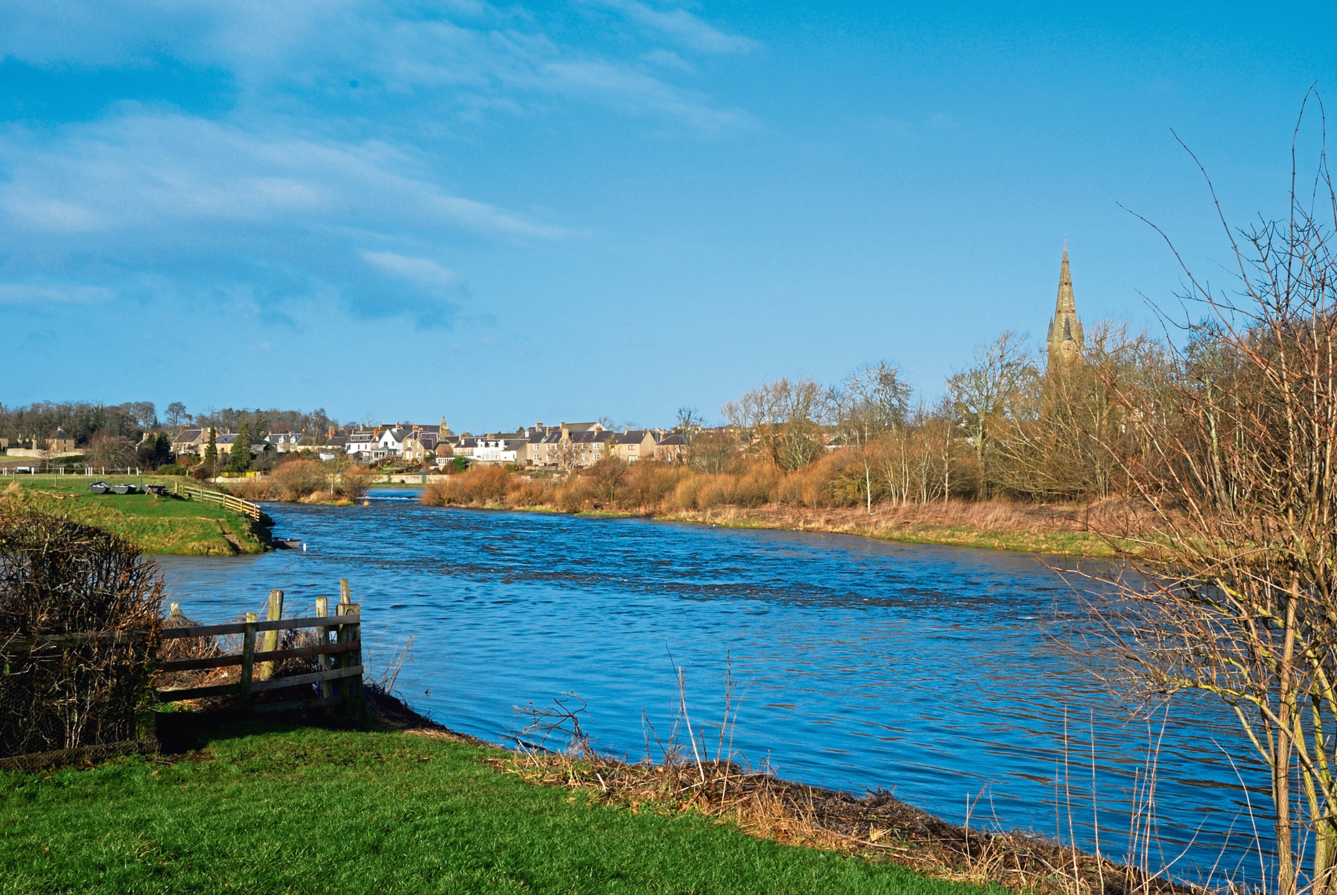 The River Tweed runs through Kelso in the Scottish Borders