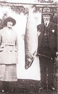 Georgina Ballantine with her 64lb salmon in 1922.