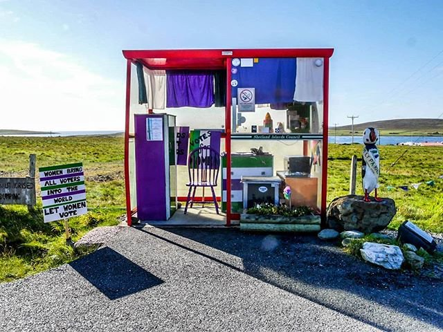 Bobby's Bus Shelter on the Isle of Unst.