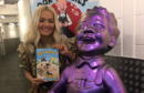 Rita Ora with the Oor Wullie statue