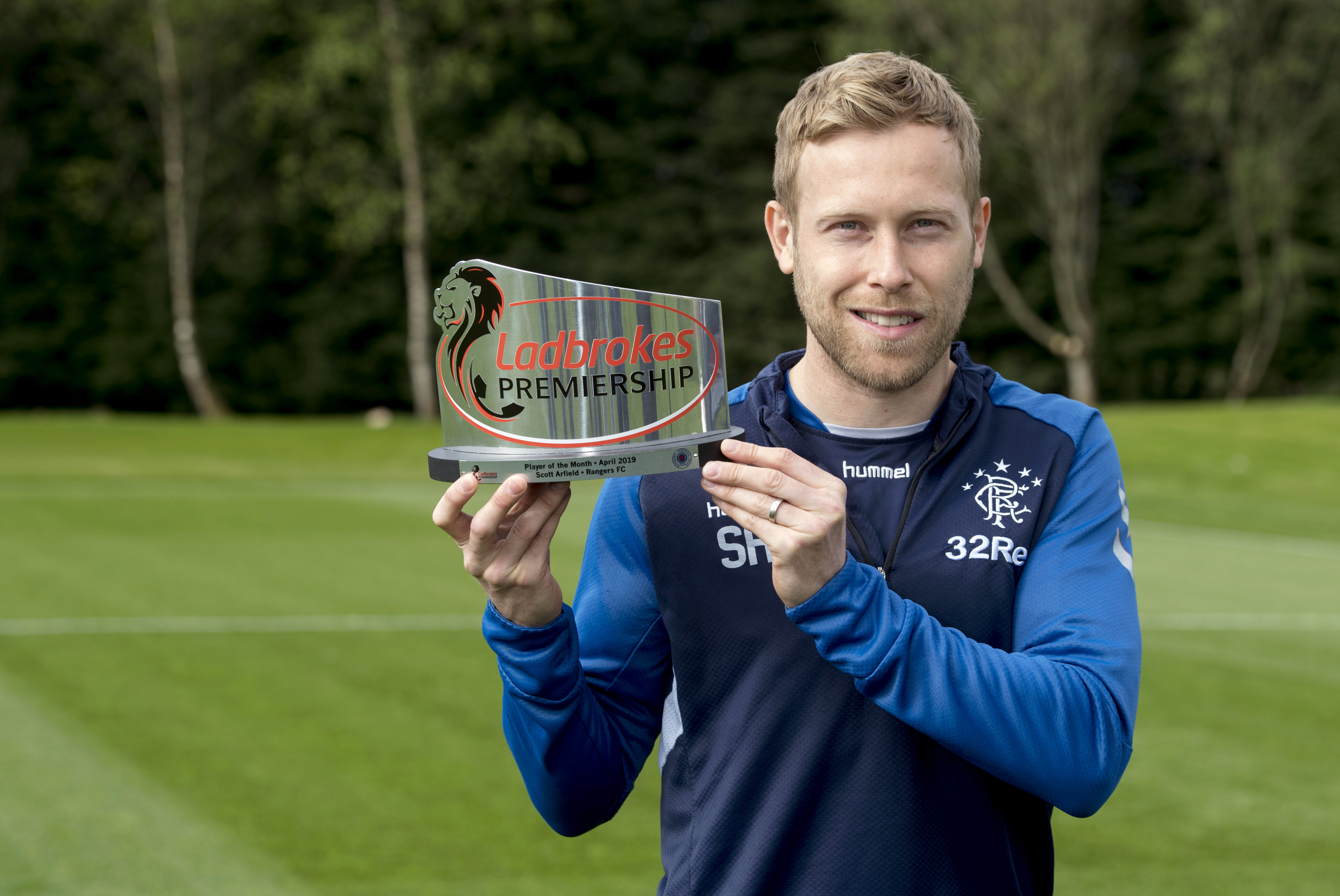Rangers' Scott Arfield pictured after winning the Ladbrokes Premiership Player of the Month award for April