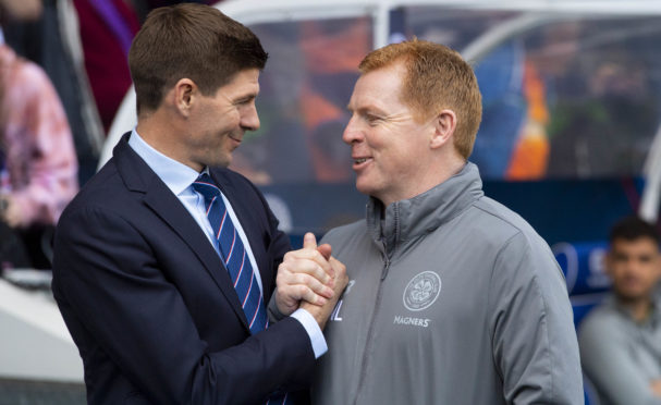 Steven Gerrard and Neil Lennon