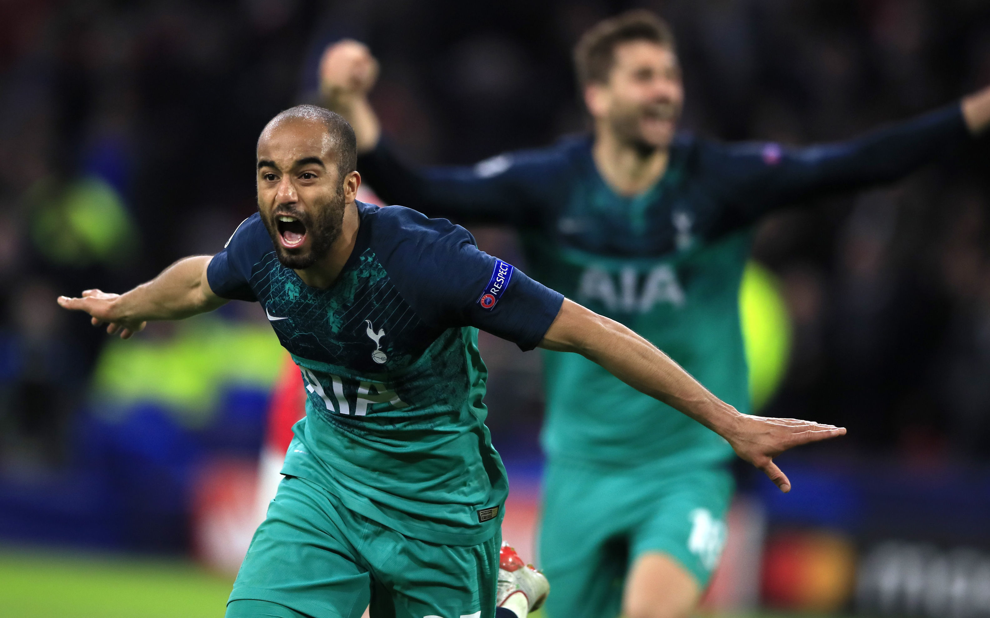 Tottenham's Lucas Moura celebrates after scoring his side's third goal