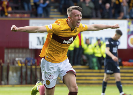 27/04/19 LADBROKES PREMIERSHIP MOTHERWELL v DUNDEE (4-3) FIR PARK - MOTHERWELL Motherwell's David Turnbull celebrates making it 4-3 in the last moments of the game.