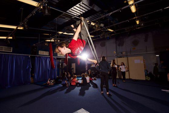 Pupils at Craigmount High School in Edinburgh rehearse their aerial performance ahead of Like Flying.