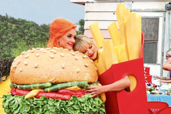 Happy meals: Katy and Taylor dress as dinner