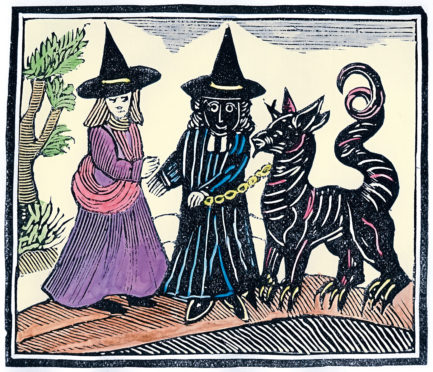 A black and a white witch with a devil animal. Illustration from a collection of chapbooks on esoterica. Artist Unknown.