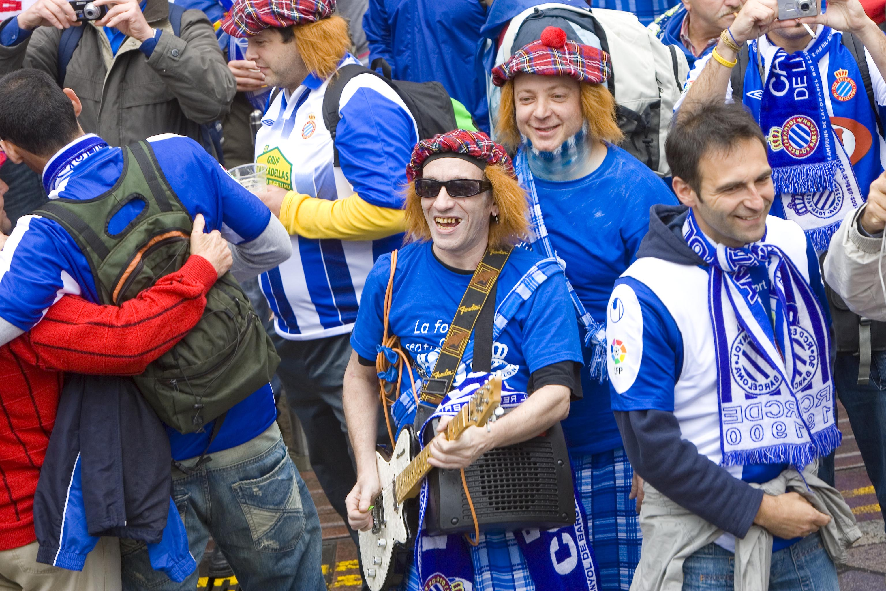 Espanyol fans mingle in Glasgow city centre ahead of the 2007 UEFA Cup Final against Sevilla