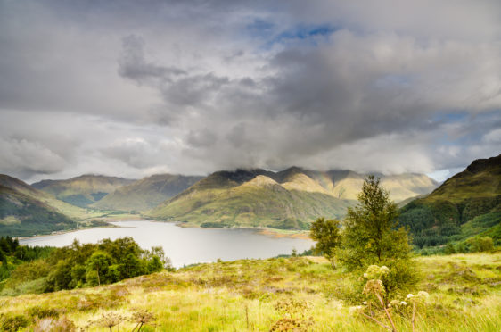 The end of Loch Duich with the Five Sisters peaks