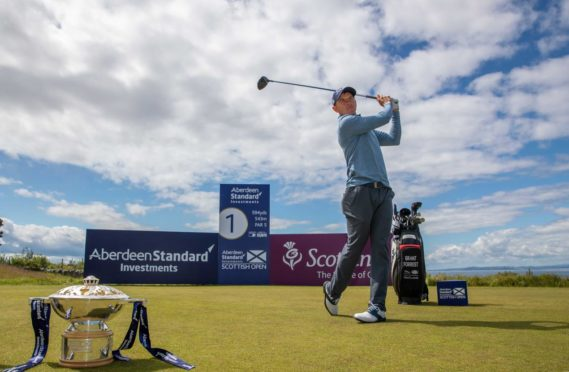 Scotland's Grant Forrest on the first tee of the Aberdeen Standard Investments Scottish Open Championship Course at The Renaissance Club