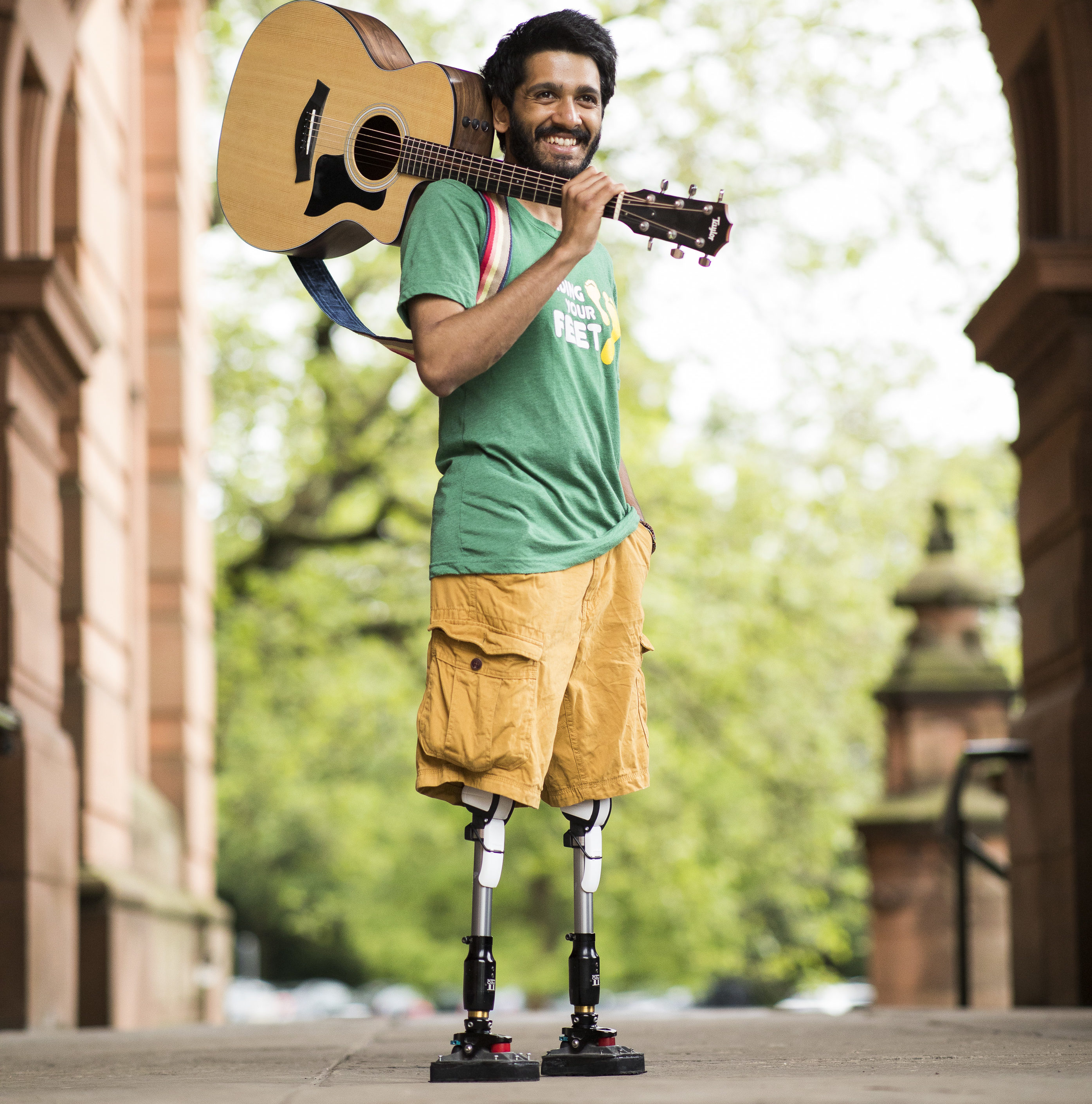 """Double amputee Paul Johnston had both his legs removed above the knee after taking a shortcut home over rail tracks and being electrocuted by a live line he has rebuild his life and now works for the charity """"Finding your Feet"""" and has started visiting schools with his guitar to educate kids of the dangers of train lines."""