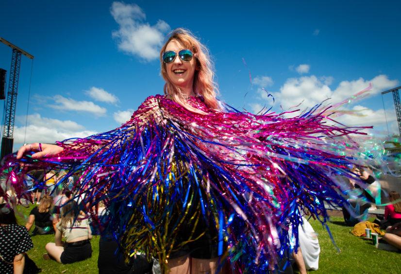 Lauren Elliott (21), from Manchester, with a glittery dress