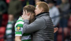 Celtic manager Neil Lennon with James Forrest