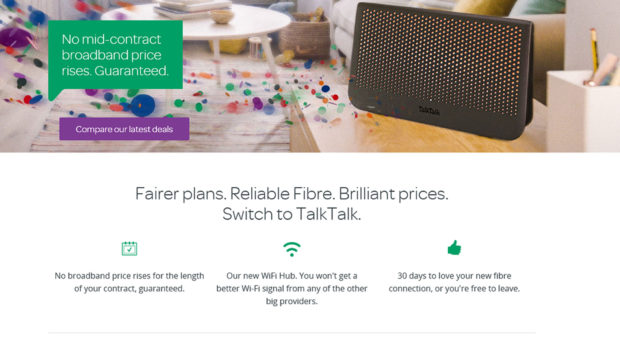 An ad for TalkTalk's Unlimited Fibre broadband