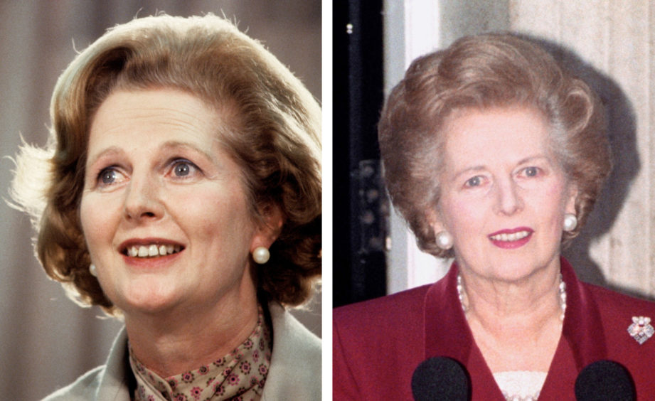 Margaret Thatcher. L: Addressing a press conference in Dublin in 1979, R: Making her final speech outside Downing Street before heading to the Palace to resign.