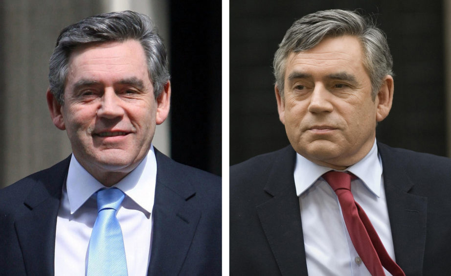 Gordon Brown. L: Outside Downing Street after one week as Prime Minster, R: After the polls return a hung parliament at the 2010 General Election.