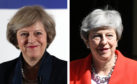 Theresa May. L: During her leadership campaign in 2016, R: Pictured a week before she announced her intention to resign.