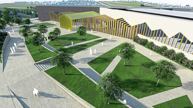 Artist's impression of the new £100m jail, which includes football pitches and a cycle track