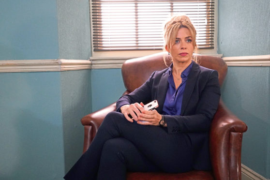 Eve Myles as lawyer Faith in the second series of the bilingual crime thriller