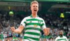 Celtic's Kristoffer Ajer celebrates the opener against Nomme Kalju