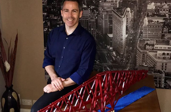 Michael Dineen with part of his 4.7-metre Lego model