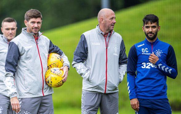 Rangers manager Steven Gerrard, assistant Gary McAllister, and Daniel Candeias