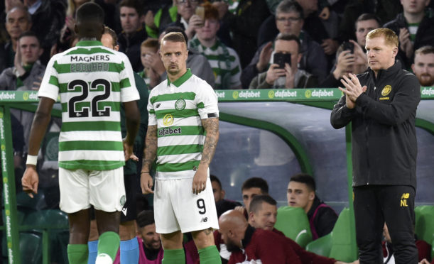 Leigh Griffiths makes his return to competitive action for Celtic