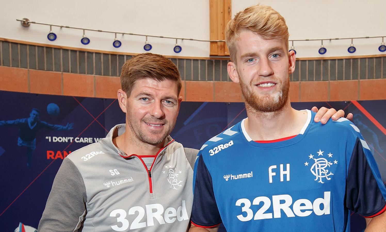 Rangers' new signing Filip Helander with manager Steven Gerrard