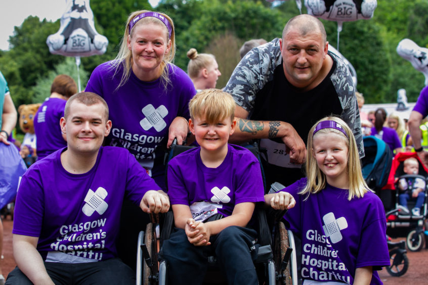 L-R: Zaac Walker, Catherine Hardman, Layton Hardman, Peter Hardman and Katie Hardman, from Glenboig