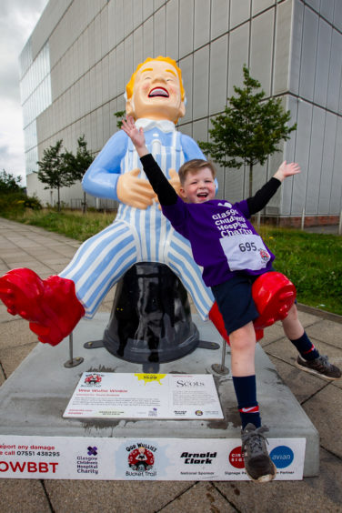 Aaron Burns (5), from Cambuslang at the BBC Scotland building