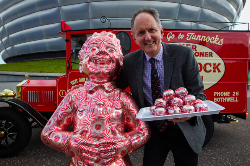 Fergus Tunnock, with the Tunnock's Oor Wullie at The SSE Hydro