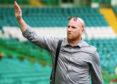 Former Celtic player John Hartson arrives at the Celtic Park.