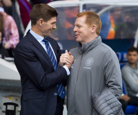 Rangers manager Steven Gerrard and Celtic manager Neil Lennon shake hands ahead of kick off