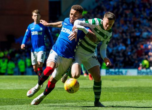 Callum McGregor in the thick of Old Firm action with James Tavernier