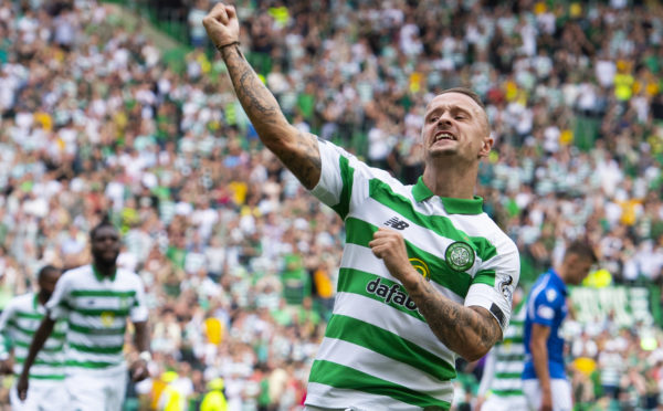 Celtic's Leigh Griffiths celebrates his goal in the 7-0 demolition of St Johnstone