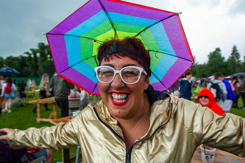 Maria McCartney, from Barrhead, who came prepared for the rain