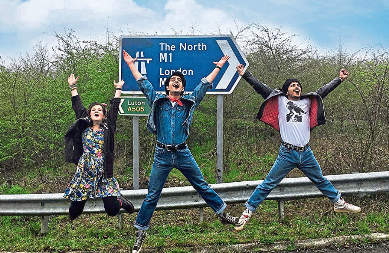 Nell Williams, Viveik Kalra and Aaron Phagura jump for joy to be in Blinded By The Light