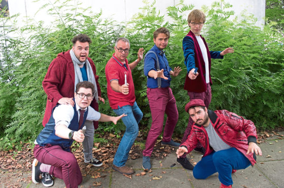 A whole host of Whovians – some of the cast of Any Suggestions, Doctor? are, from left, James Gamblin, Matt Stallworthy, our very own trainee Time Lord Alan Shaw, Harry Whittaker, Lewis Dunn and Charles Deane
