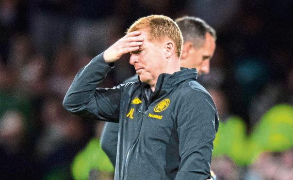 Celtic manager Neil Lennon on the touchline against Cluj