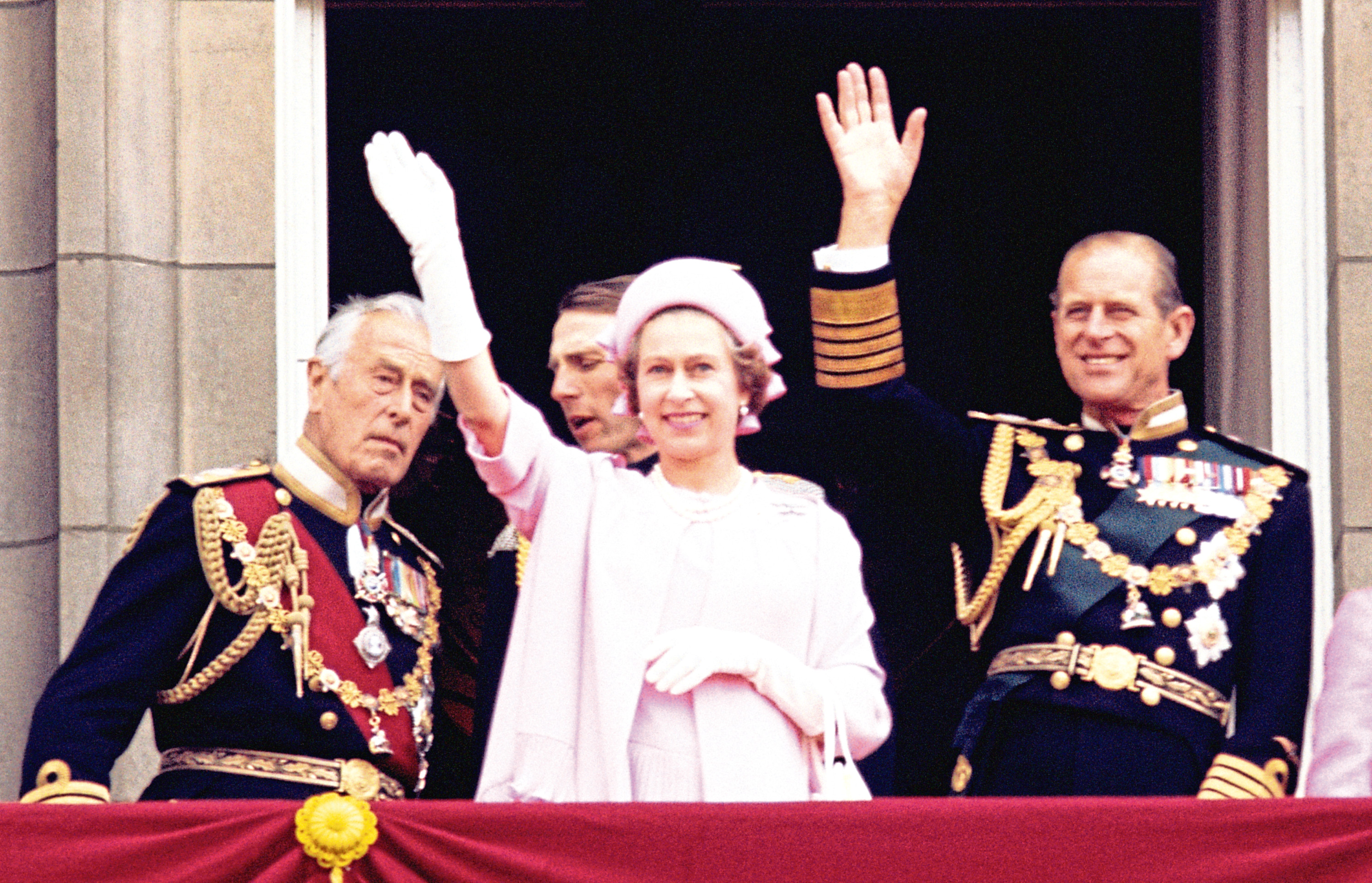 Lord Mountbatten, left, with the Queen and the Duke of Edinburgh in 1977