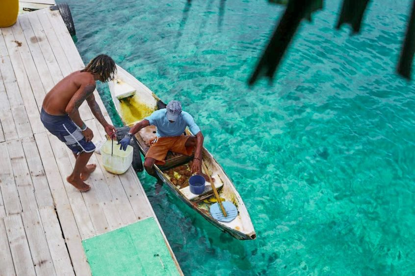 A fisherman drops off his catch in the San Bernardos Islands, Colombia.