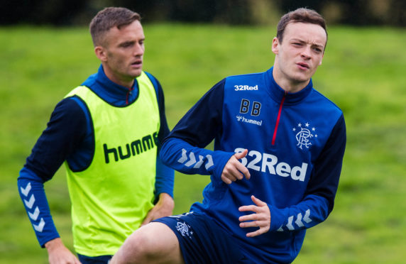 Brandon Barker (right) and Andy King at training