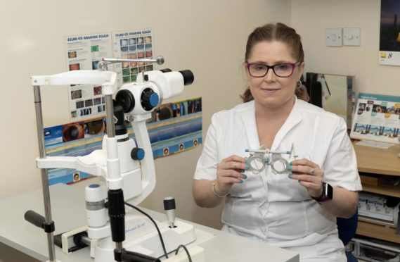 Lynsey, pictured on Thursday, says the optometrist who treated                         her has inspired her to follow in her footsteps and become an optician
