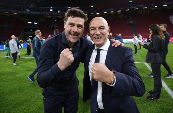 Happier times for Mauricio Pochettino and owner Daniel Levy after Tottenham had qualified for the Champions League Final by winning in Amsterdam. Now their relationship appears to be strained