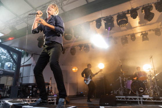 Suede's Brett Anderson on stage at Kelvingrove Bandstand