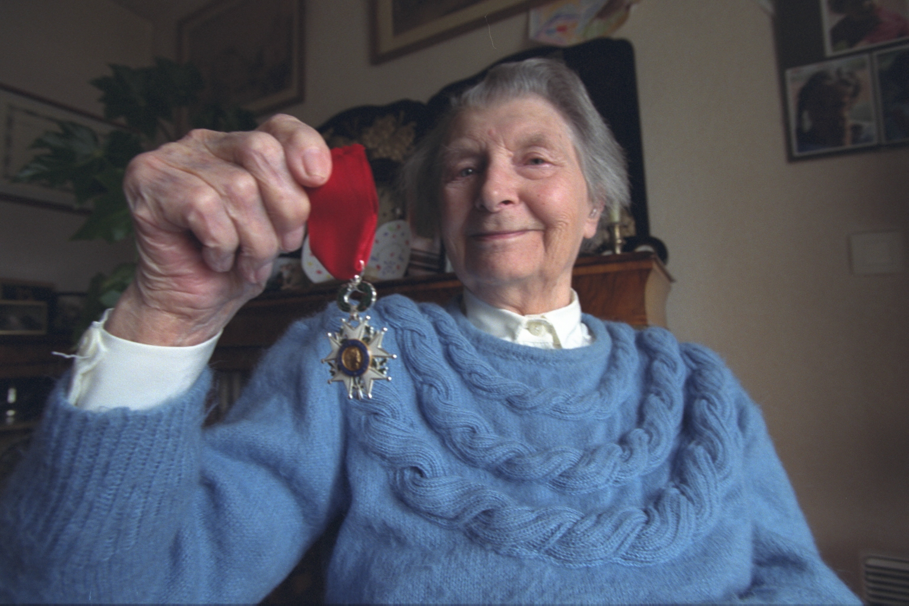 Susan Travers, the only woman to join the French Royal Legion, with her Legion of Honour medal. She died in 2003 aged 94
